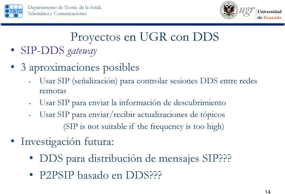 Usar SIP para enviar/recibir actualizaciones de tópicos (SIP is not suitable if the frequency is