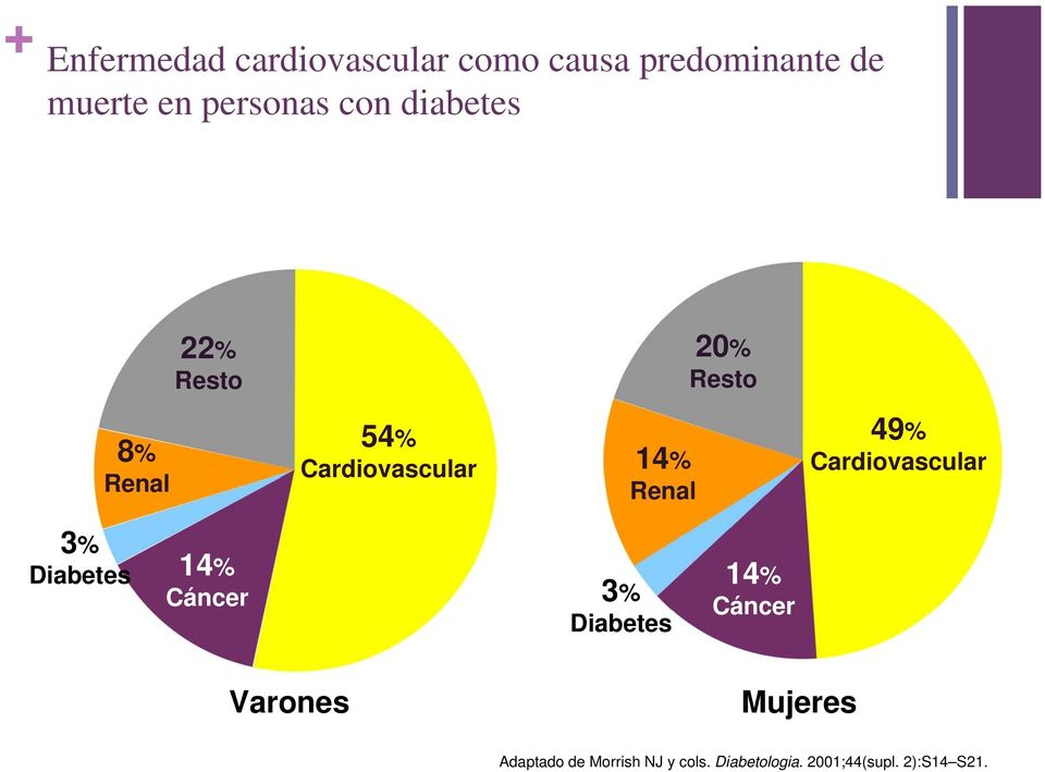 49% Cardiovascular 3% Diabetes 14% Cáncer 3% Diabetes 14% Cáncer Varones