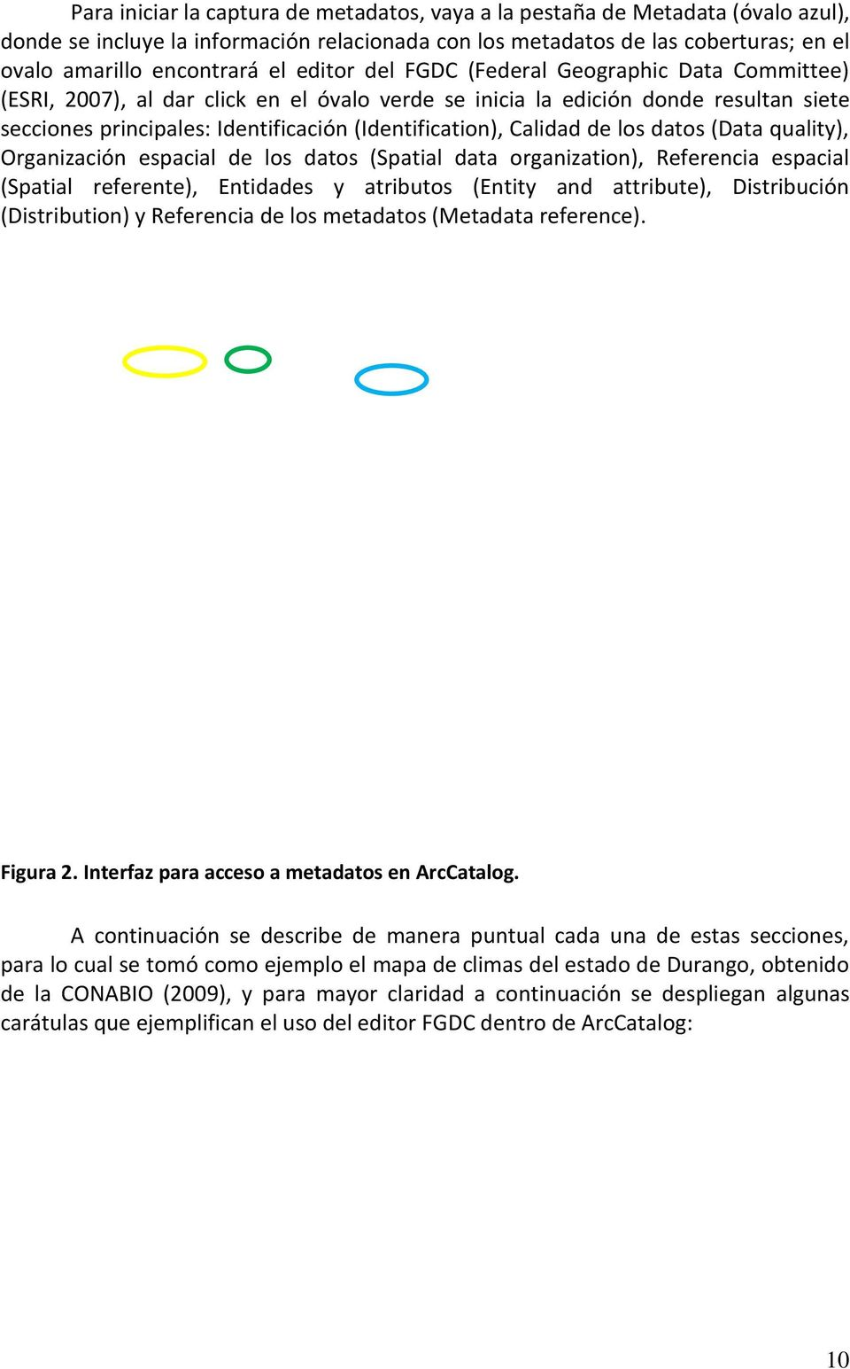Calidad de los datos (Data quality), Organización espacial de los datos (Spatial data organization), Referencia espacial (Spatial referente), Entidades y atributos (Entity and attribute),