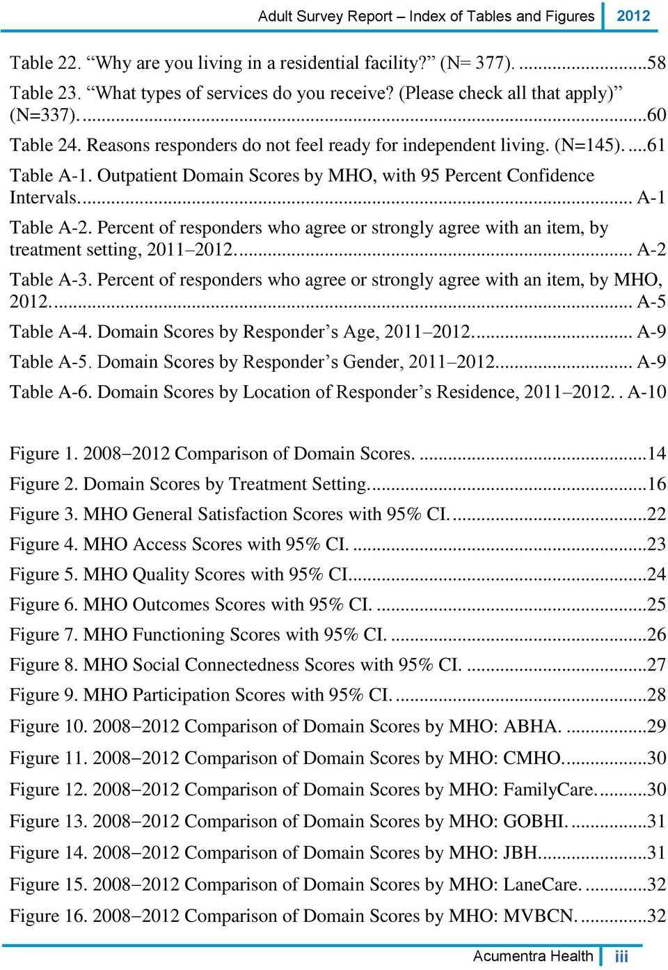 Outpatient Domain Scores by MHO, with 95 Percent Confidence Intervals.... A-1 Table A-2. Percent of responders who agree or strongly agree with an item, by treatment setting, 2011 2012.... A-2 Table A-3.