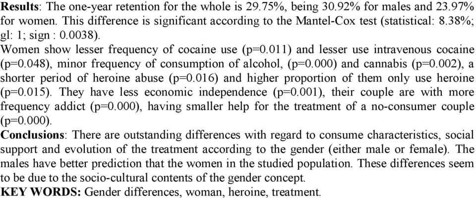 002), a shorter period of heroine abuse (p=0.016) and higher proportion of them only use heroine (p=0.015). They have less economic independence (p=0.