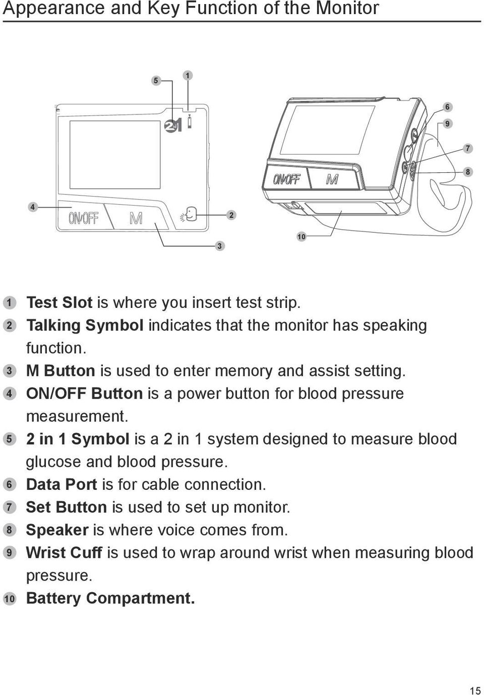 ON/OFF Button is a power button for blood pressure measurement. 2 in 1 Symbol is a 2 in 1 system designed to measure blood glucose and blood pressure.