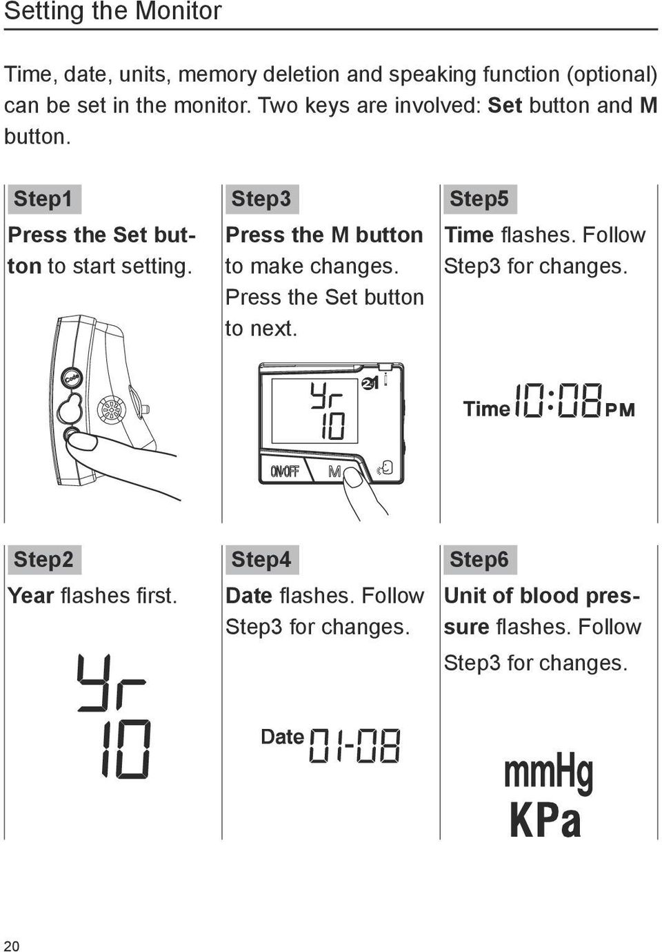 Step3 Press the M button to make changes. Press the Set button to next. Step5 Time flashes.