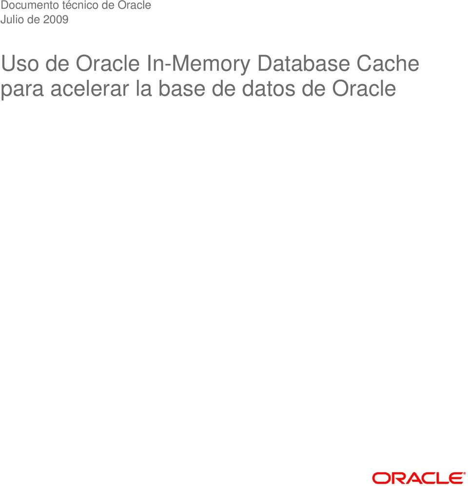 In-Memory Database Cache para