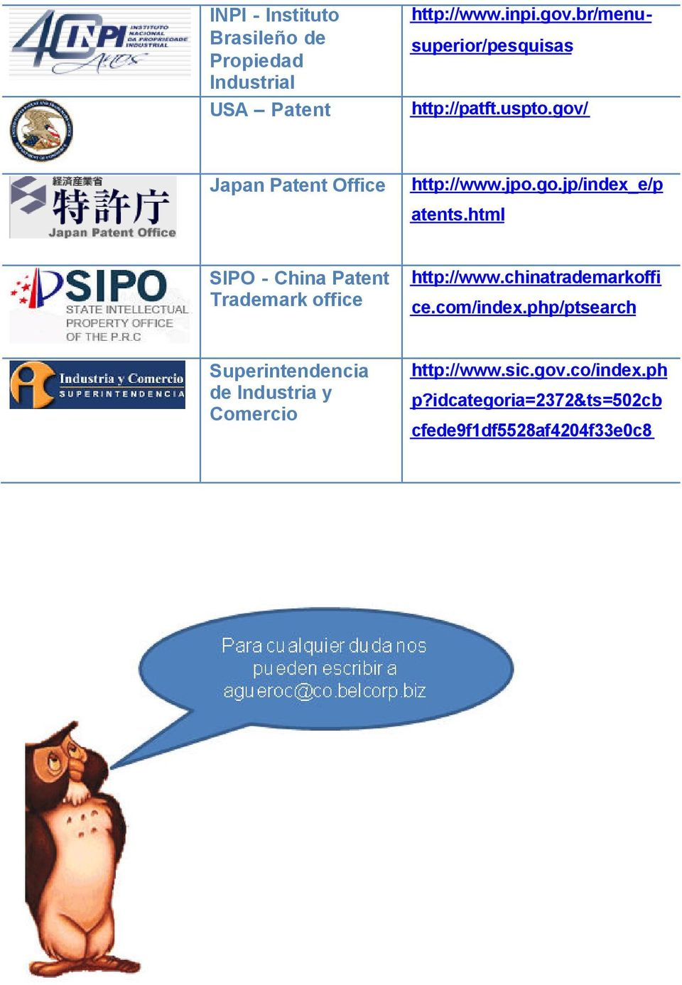 html SIPO - China Patent Trademark office http://www.chinatrademarkoffi ce.com/index.