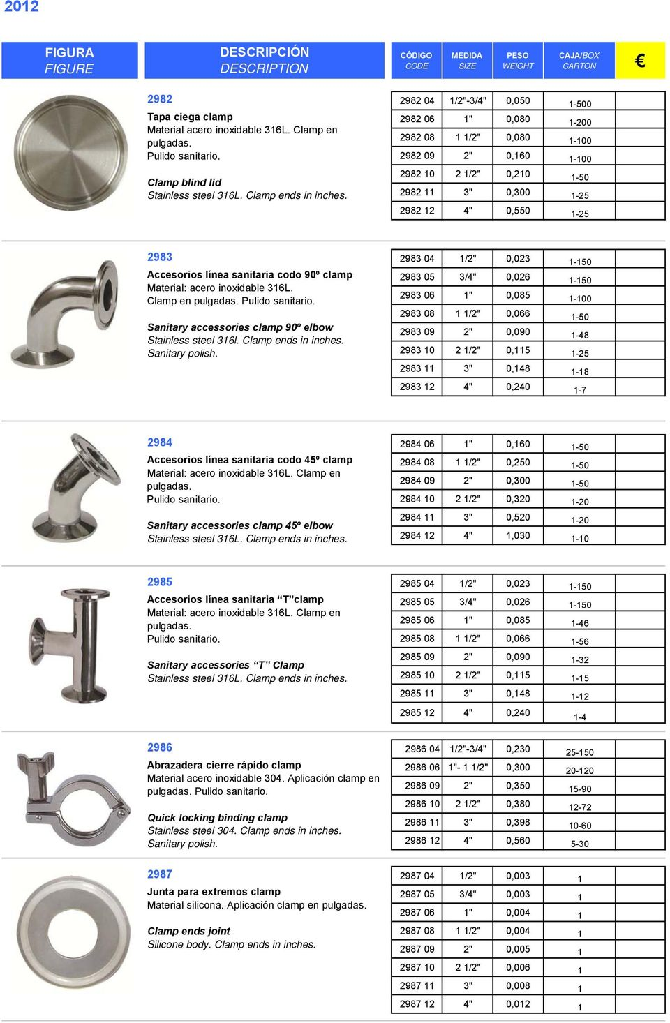 sanitaria codo 90º clamp Material: acero inoxidable 316L. Clamp en Sanitary accessories clamp 90º elbow Stainless steel 316l. Clamp ends in inches. Sanitary polish.