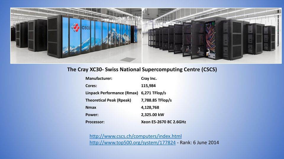 7,788.85 TFlop/s Nmax 4,128,768 Power: 2,325.00 kw Processor: Xeon E5-2670 8C 2.