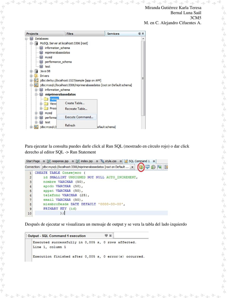 SQL -> Run Statement Después de ejecutar se visualizara