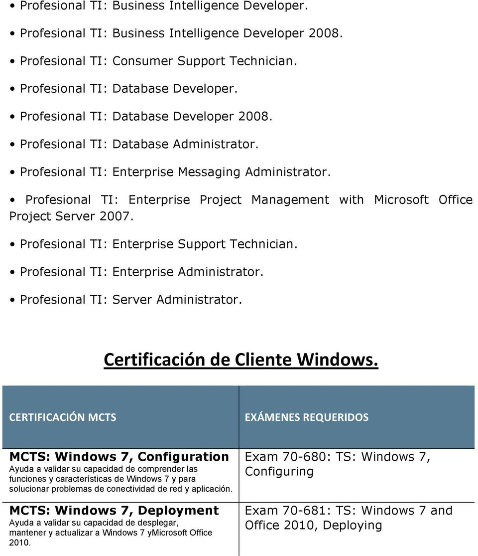 Profesional TI: Enterprise Project Management with Microsoft Office Project Server 2007. Profesional TI: Enterprise Support Technician. Profesional TI: Enterprise Administrator.