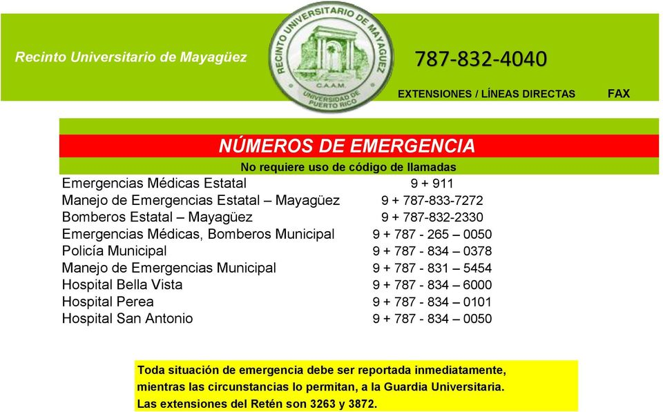 Emergencias Municipal 9 + 787-831 5454 Hospital Bella Vista 9 + 787-834 6000 Hospital Perea 9 + 787-834 0101 Hospital San Antonio 9 + 787-834 0050 Toda