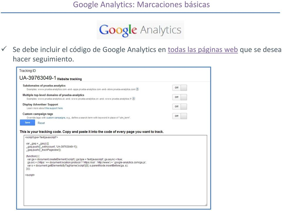 de Google Analytics en todas las