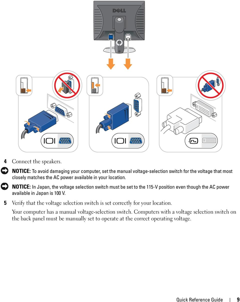 your location. NOTICE: In Japan, the voltage selection switch must be set to the 115-V position even though the AC power available in Japan is 100 V.