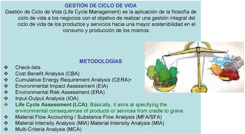 METODOLOGÍAS Check-lists Cost Benefit Analysis (CBA) Cumulative Energy Requirement Analysis (CERA) Environmental Impact Assessment (EIA) Environmental Risk Assessment (ERA) Input-Output Analysis