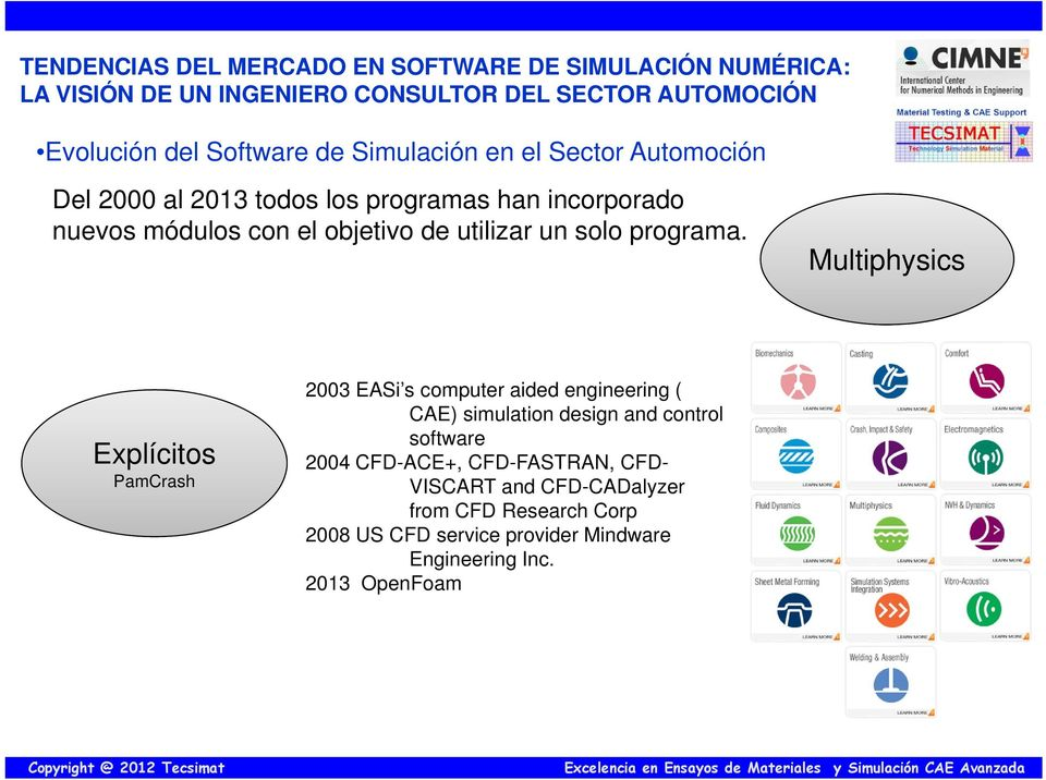 Multiphysics Explícitos PamCrash 2003 EASi s computer aided engineering ( CAE) simulation design and control