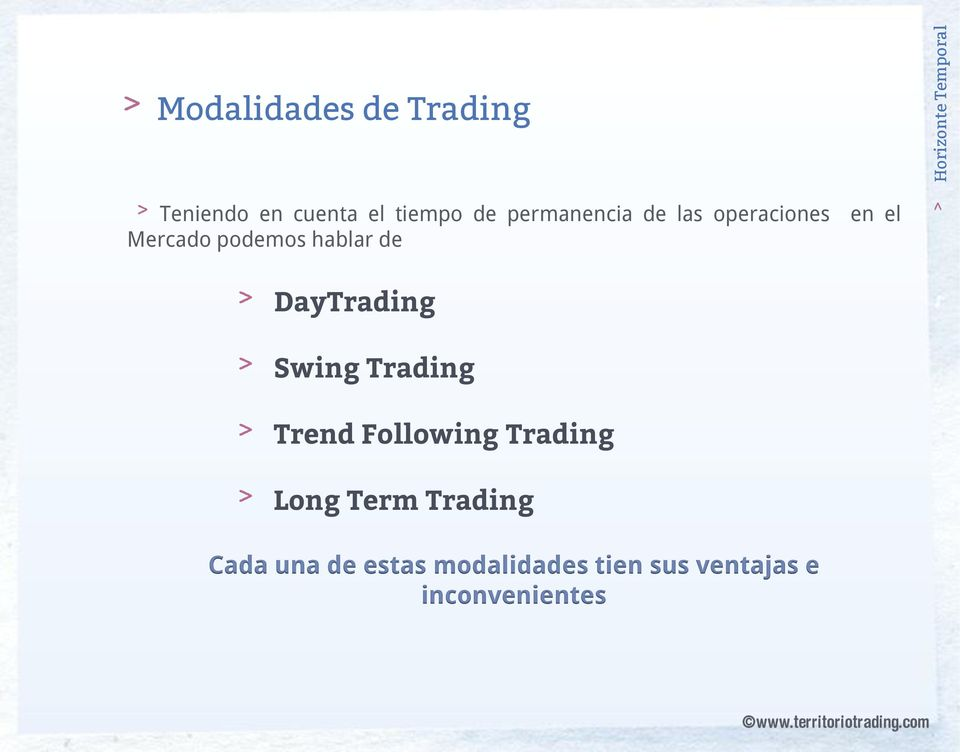 hablar de DayTrading Swing Trading Trend Following Trading Long