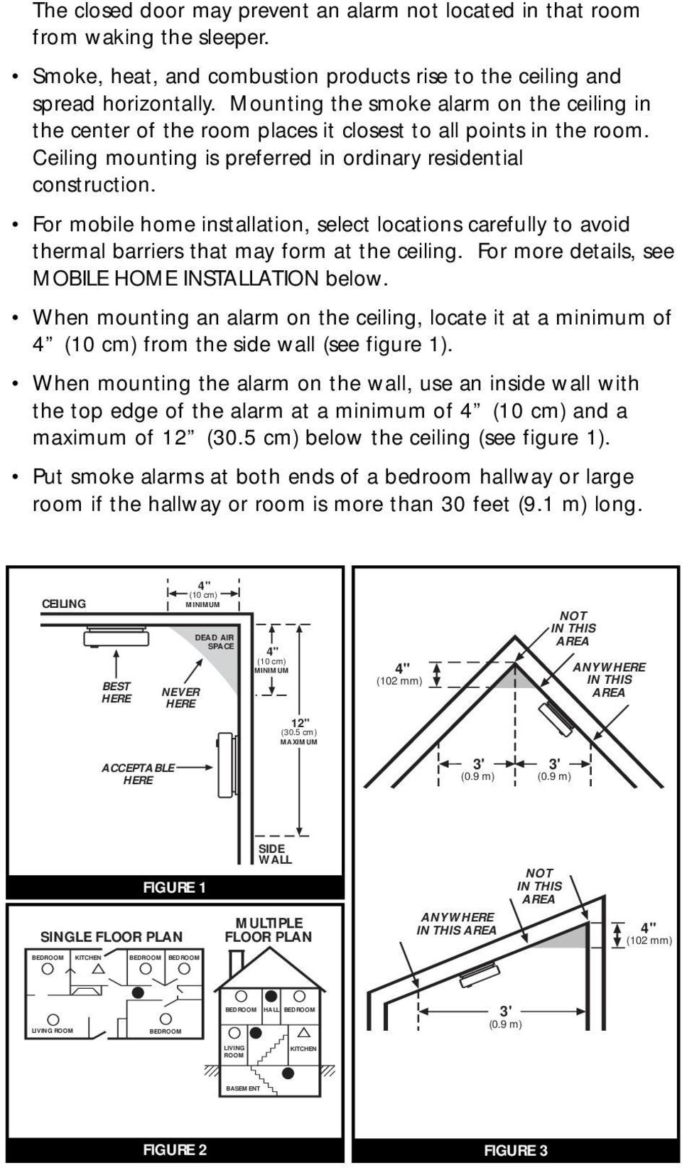 "ACCEPTABLE HERE Ceiling mounting is preferred in ordinary residential 4"" (10 cm) construction."