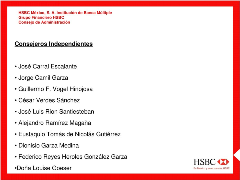Independientes José Carral Escalante Jorge Camil Garza Guillermo F.