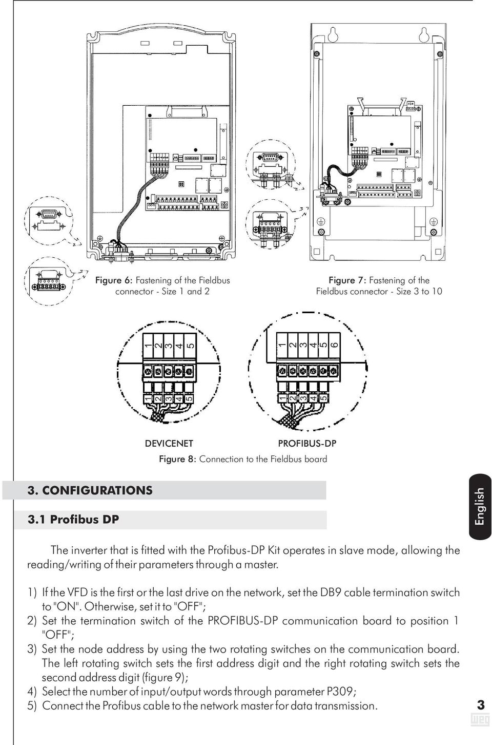 ") If the VFD is the first or the last drive on the network, set the DB9 cable termination switch to ""ON""."