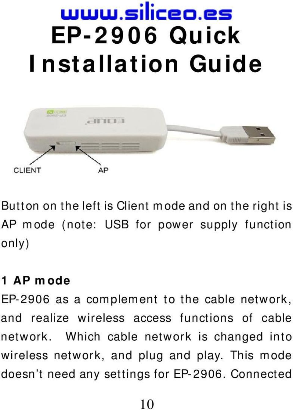 network, and realize wireless access functions of cable network.