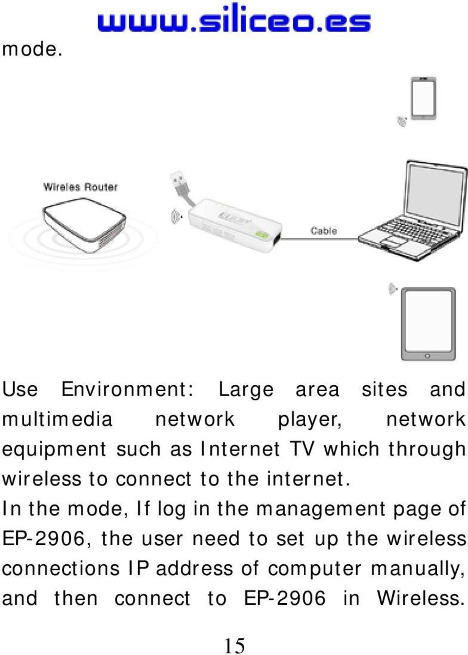 In the mode, If log in the management page of EP-2906, the user need to set up the
