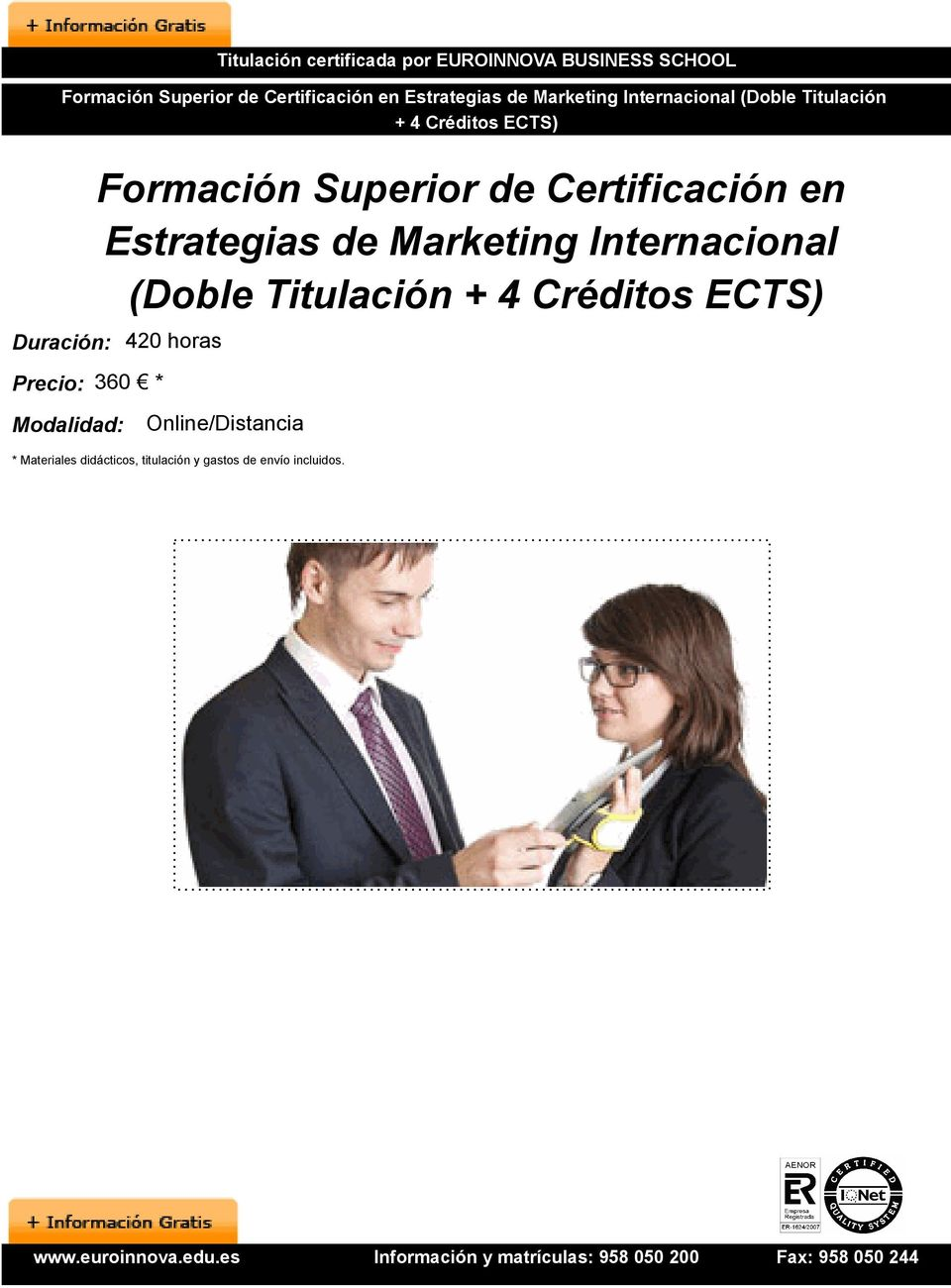Formación Superior de Certificación en Estrategias de Marketing Internacional (Doble