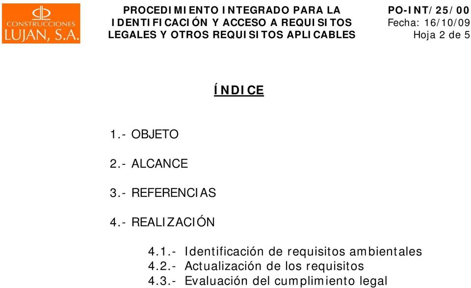 - Identificación de requisitos ambientales 4.2.