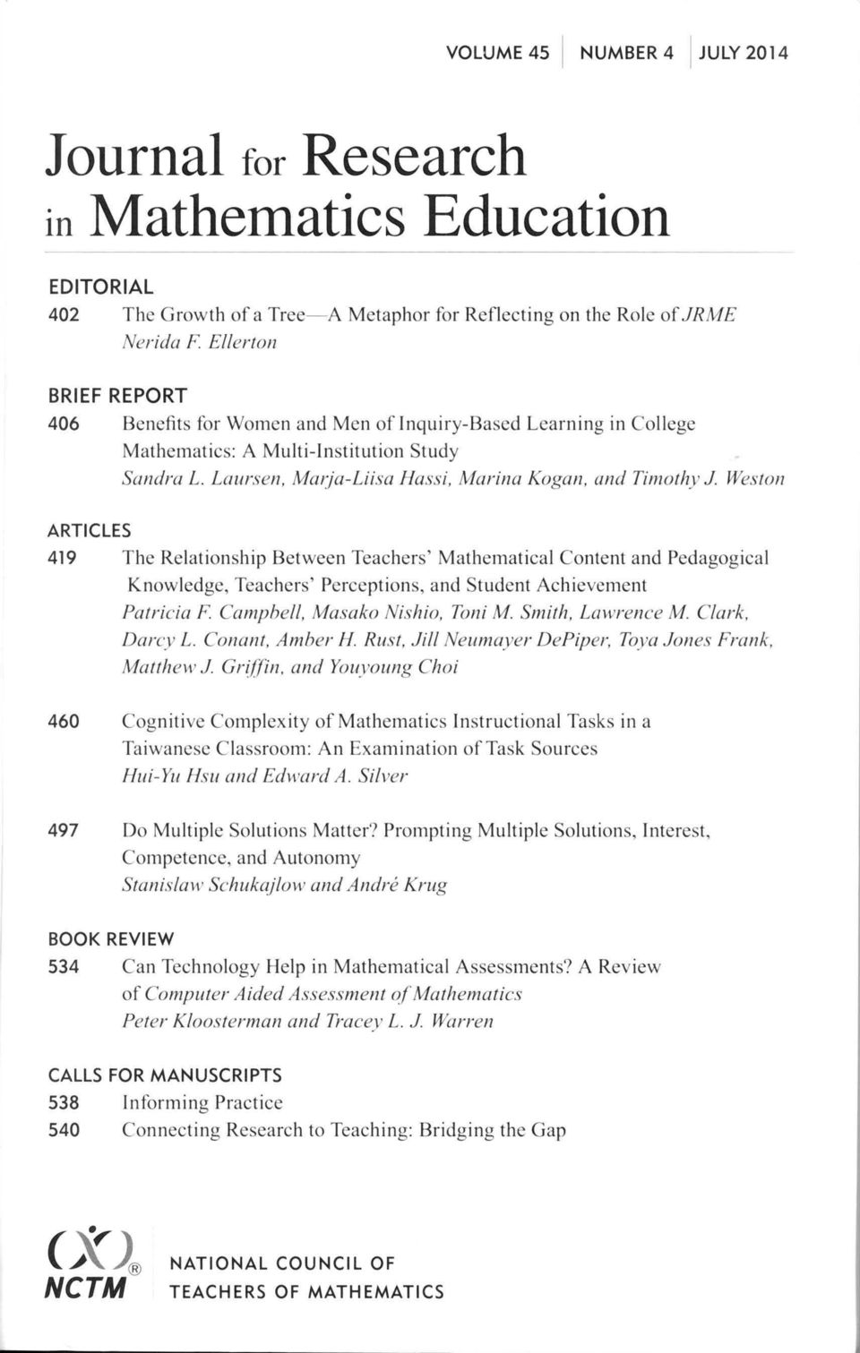 Weston ARTICLES 419 The Relationship Between Teachers' Mathemati cal Content and Pedagogica l Knowledge, Teachers' Perce ptions, and St udent Achievement Patricia F Campbell, Masako Nishio, Toni M.