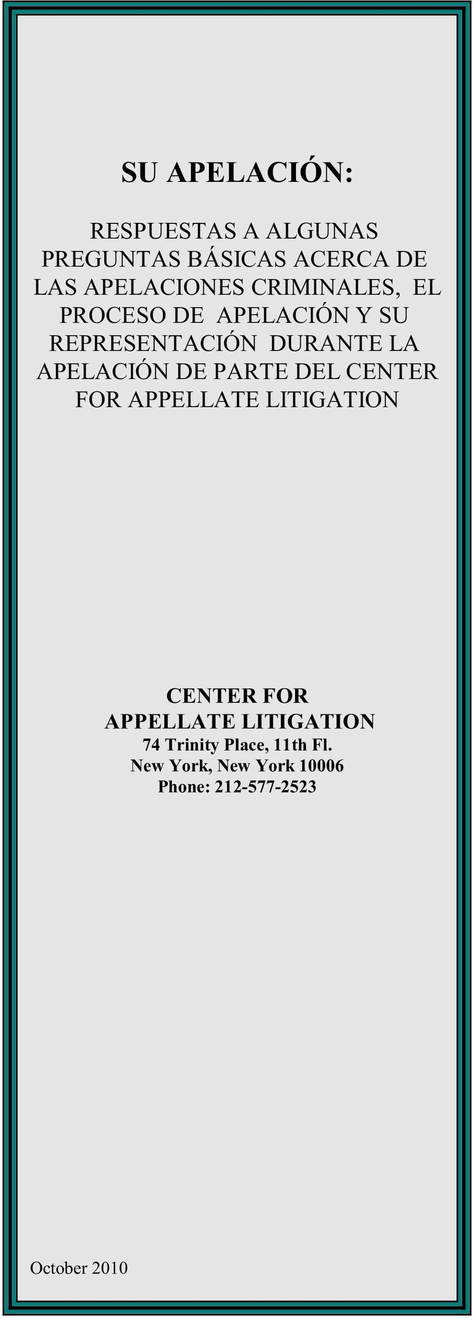 PARTE DEL CENTER FOR APPELLATE LITIGATION CENTER FOR APPELLATE LITIGATION 74