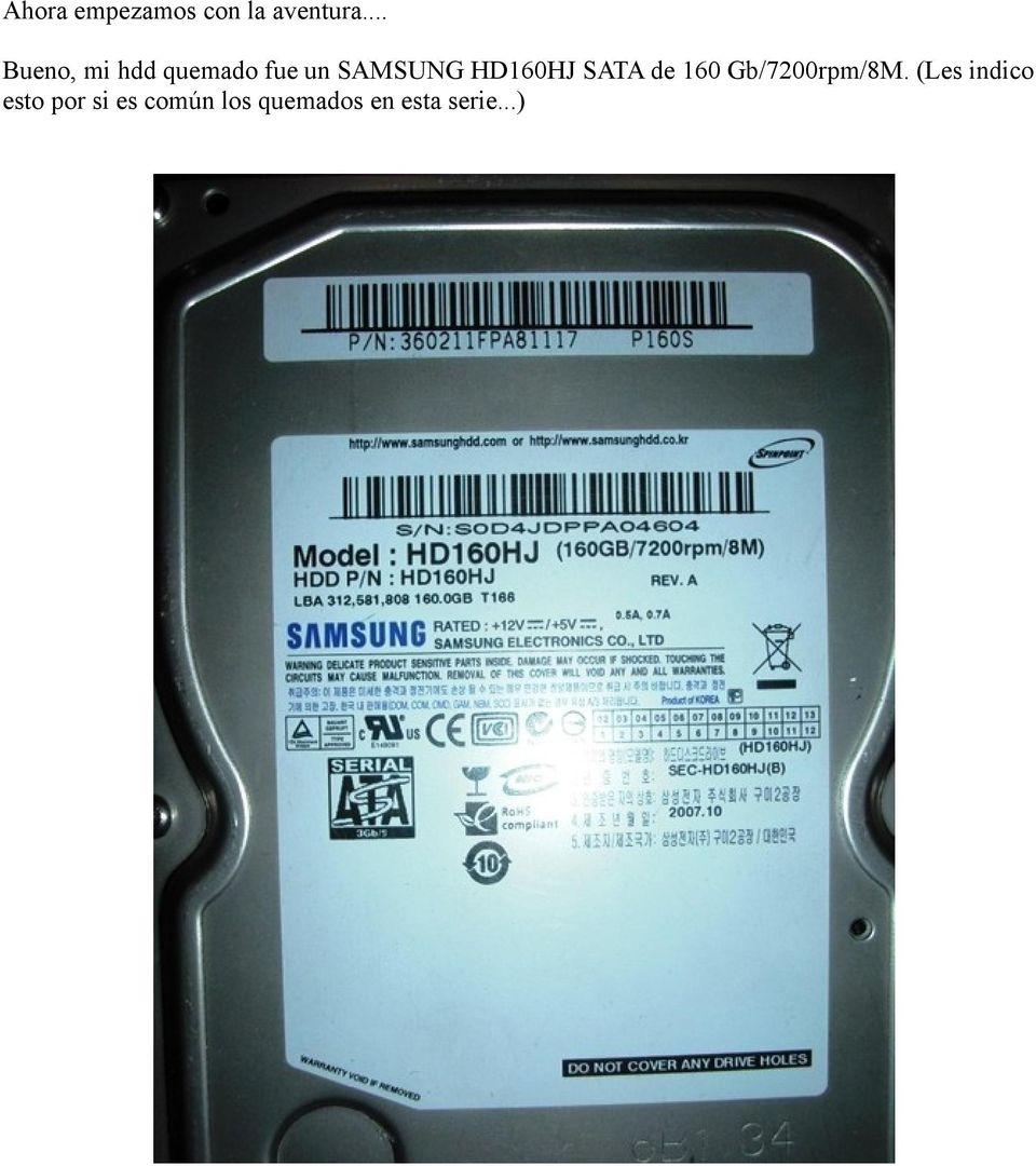 HD160HJ SATA de 160 Gb/7200rpm/8M.