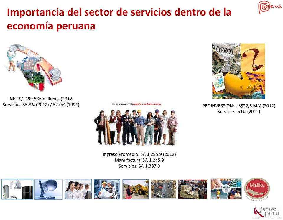 9% (1991) PROINVERSION: US$22,6 MM (2012) Servicios: 61% (2012)