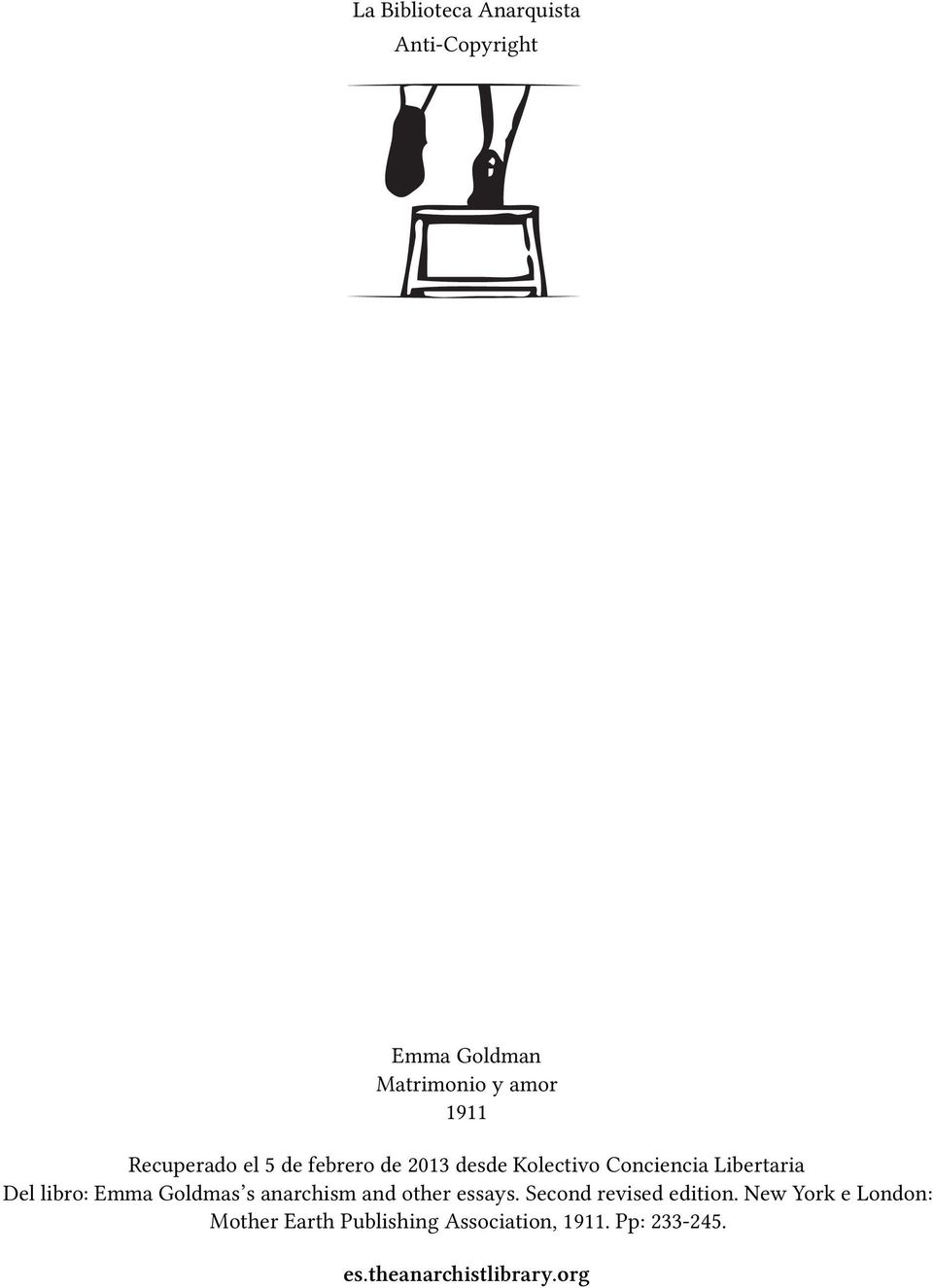 libro: Emma Goldmas s anarchism and other essays. Second revised edition.