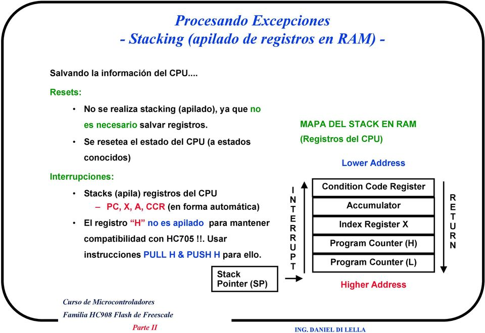 MAPA DEL STACK EN RAM Se resetea el estado del CPU (a estados (Registros del CPU) conocidos) Lower Address Interrupciones: Stacks (apila) registros del CPU PC,