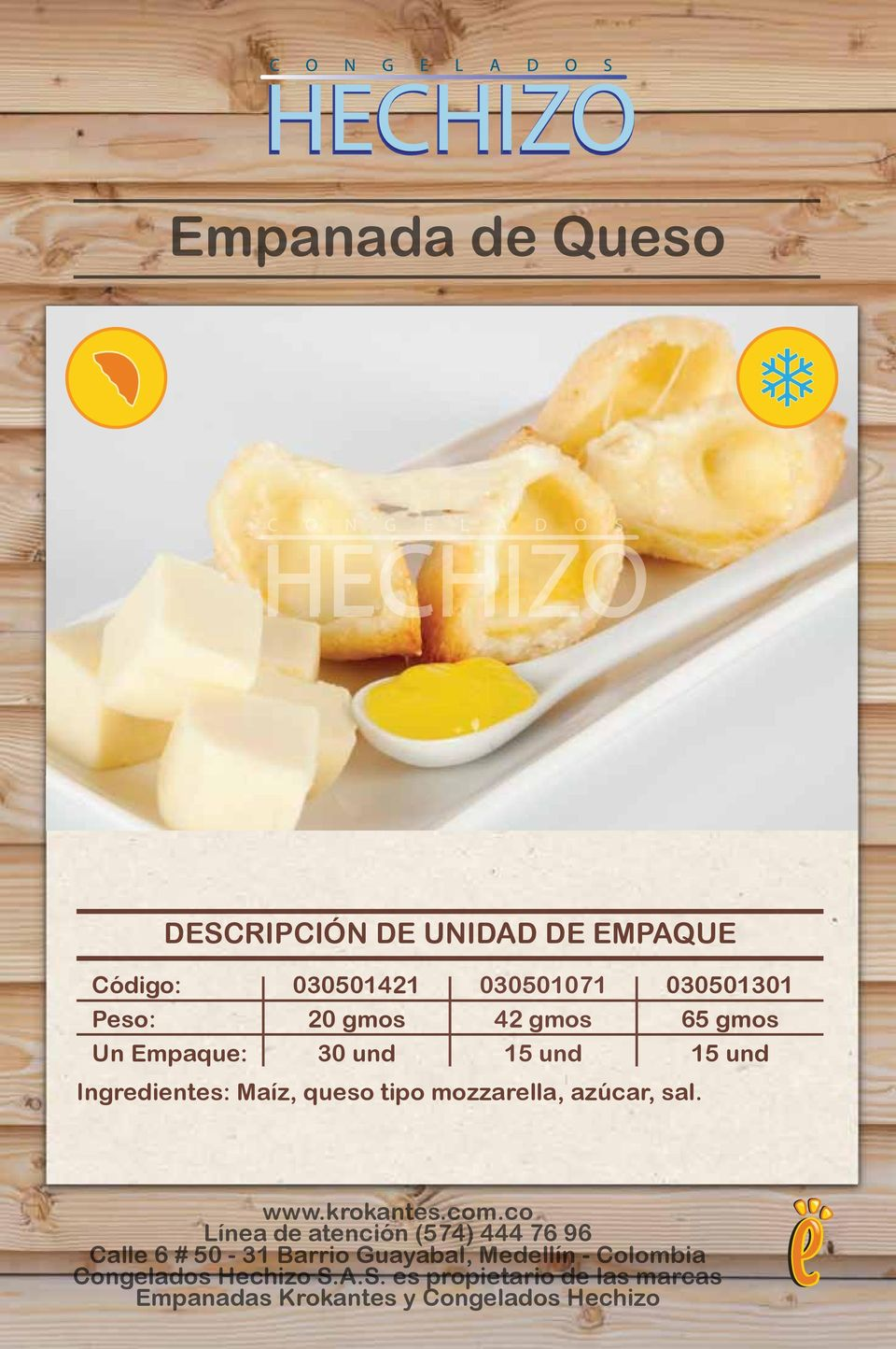 Ingredientes: Maíz, queso tipo