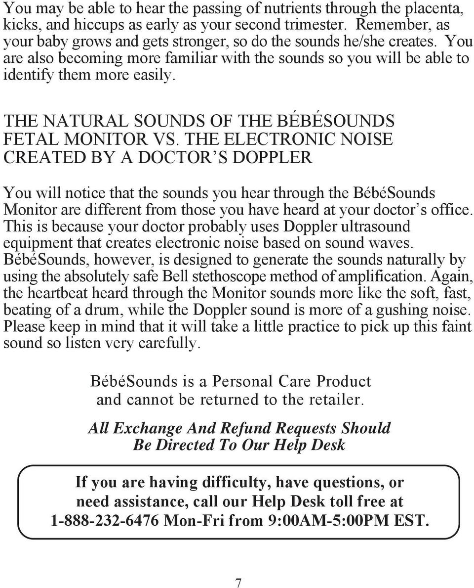 THE NATURAL SOUNDS OF THE BÉBÉSOUNDS FETAL MONITOR VS.
