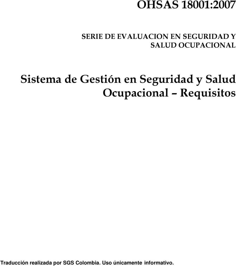 Seguridad y Salud Ocupacional Requisitos