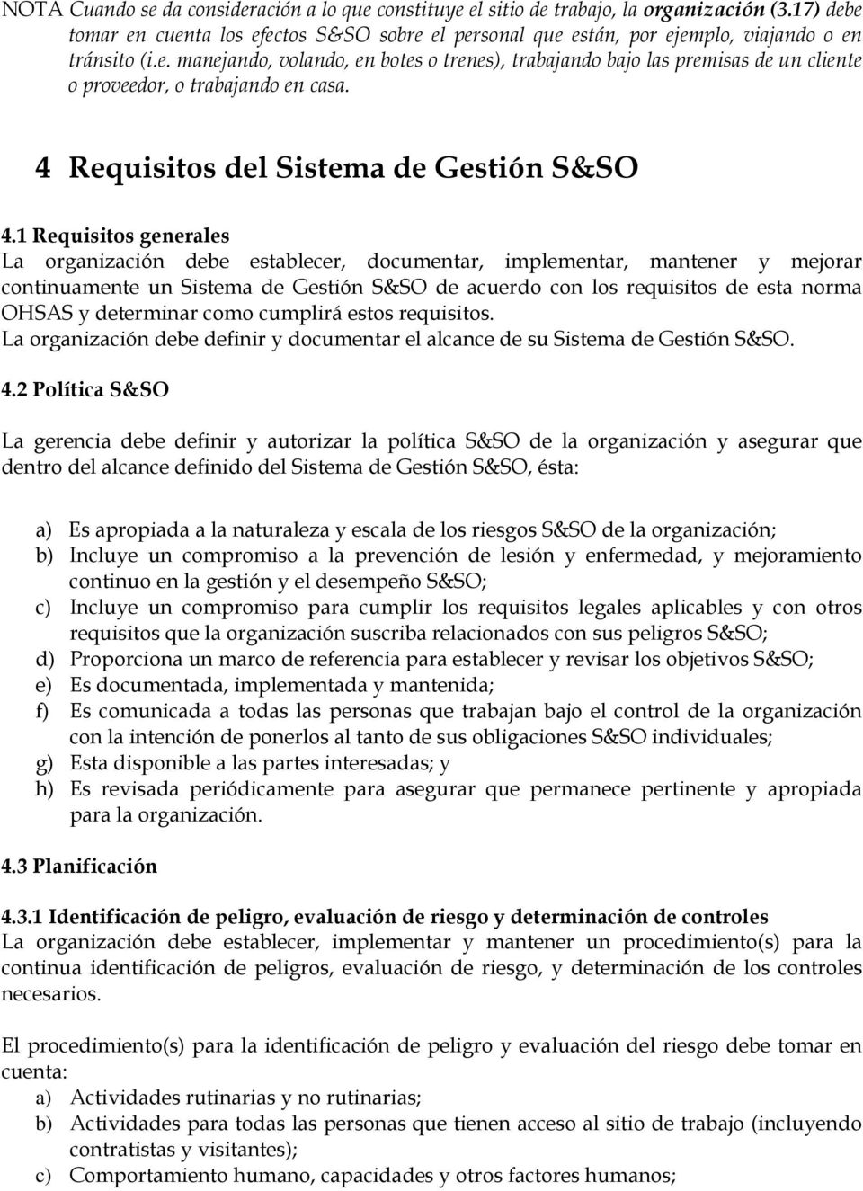 4 Requisitos del Sistema de Gestión S&SO 4.