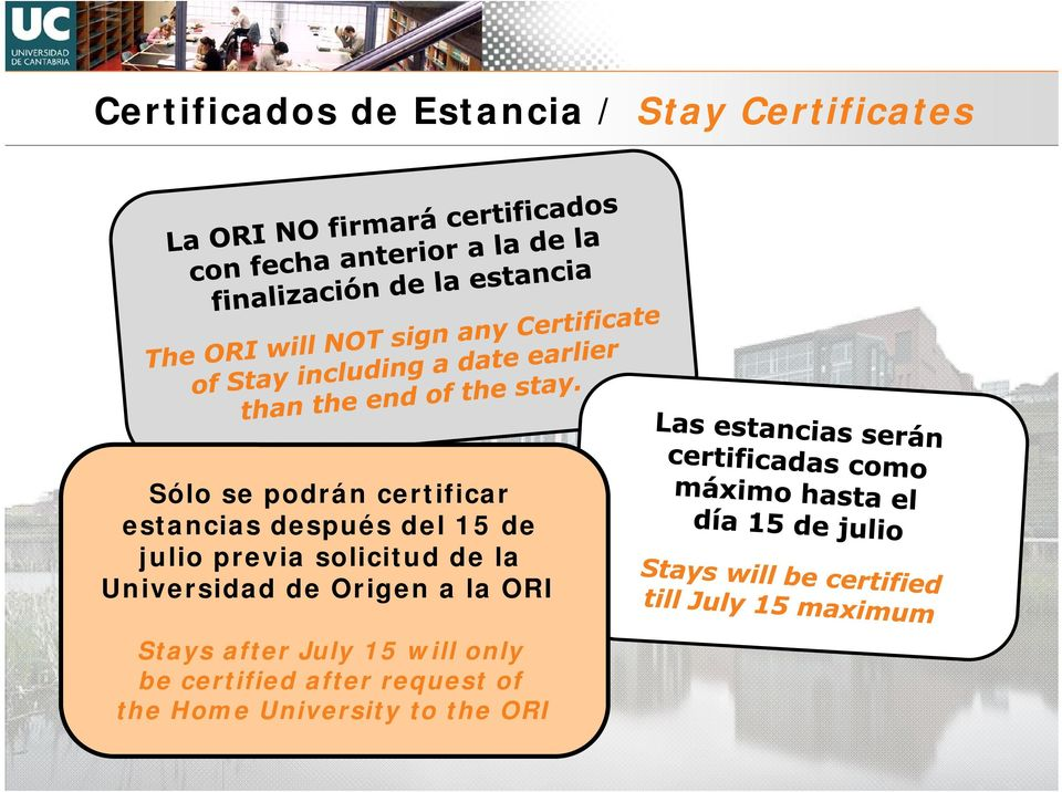 de la Universidad de Origen a la ORI Stays after July 15 will