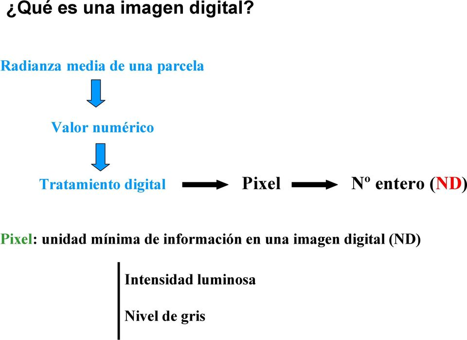 Tratamiento digital Pixel Nº entero (ND) Pixel: