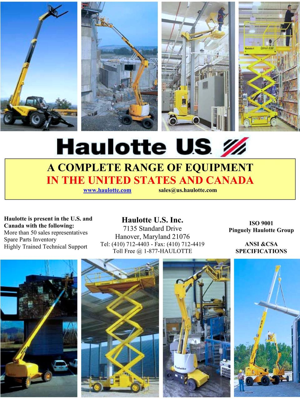 Technical Support Haulotte U.S. Inc.