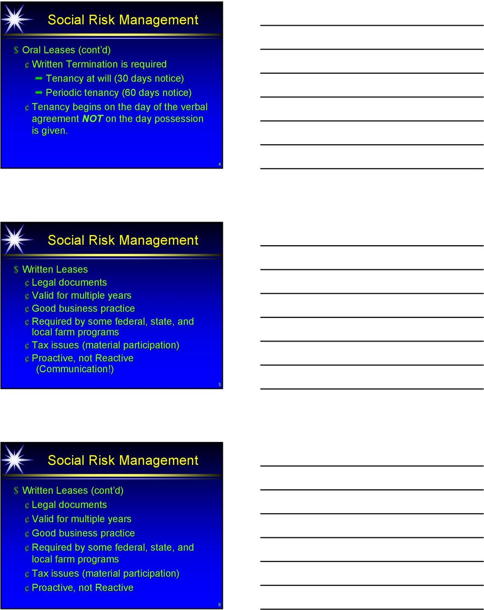 4 Social Risk Management $ Written Leases Legal documents Valid for multiple years Good business practice Required by some federal, state, and local farm programs Tax issues