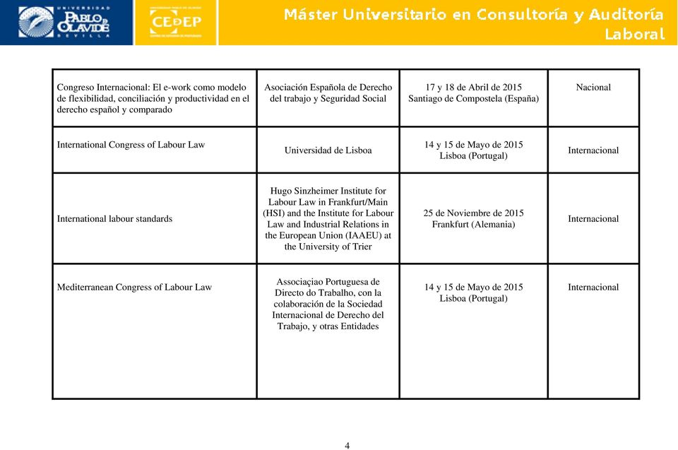 Labour Law in Frankfurt/Main (HSI) and the Institute for Labour Law and Industrial Relations in the European Union (IAAEU) at the University of Trier 25 de Noviembre de 2015 Frankfurt (Alemania)