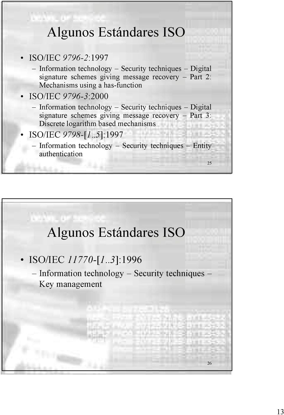 schemes giving message recovery Part 3: Discrete logarithm based mechanisms ISO/IEC 9798-[1.