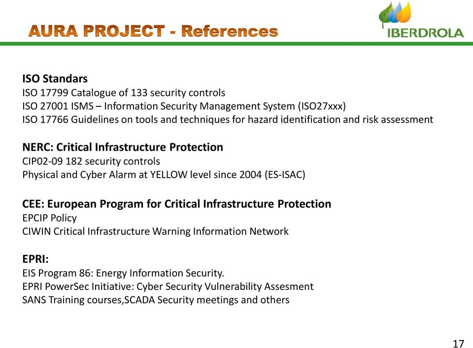 level since 2004 (ES-ISAC) CEE: European Program for Critical Infrastructure Protection EPCIP Policy CIWIN Critical Infrastructure Warning Information Network