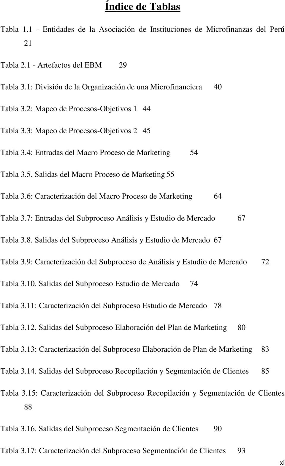 4: Entradas del Macro Proceso de Marketing 54 Tabla 3.5. Salidas del Macro Proceso de Marketing 55 Tabla 3.6: Caracterización del Macro Proceso de Marketing 64 Tabla 3.
