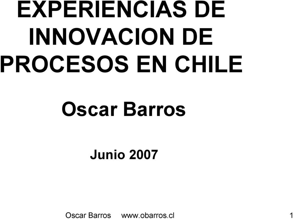 CHILE Oscar Barros Junio