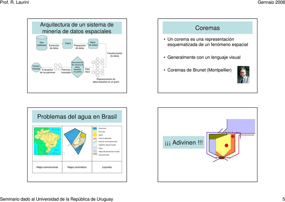 visual Coremas de Brunet (Montpellier) Representación de datos basados en un grafo Problemas del agua en Brasil Humid zone Dry zones Desert Limits of watersheds Southern limit of tropical forest