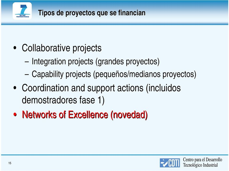(pequeños/medianos proyectos) Coordination and support actions