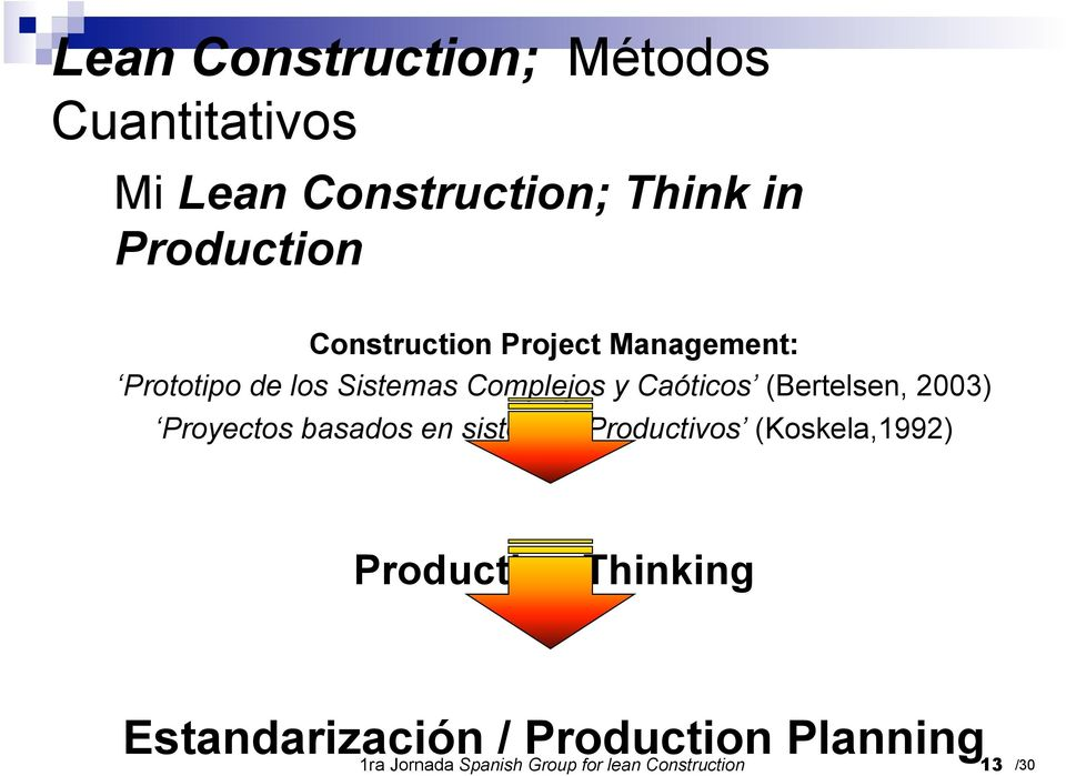 basados en sistemas Productivos (Koskela,1992) Production Thinking