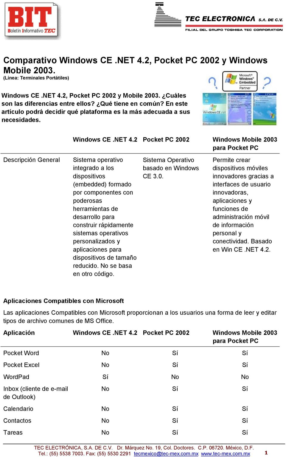 2 Pocket PC 2002 Windows Mobile 2003 Descripción General Sistema operativo integrado a los dispositivos (embedded) formado por componentes con poderosas herramientas de desarrollo para construir