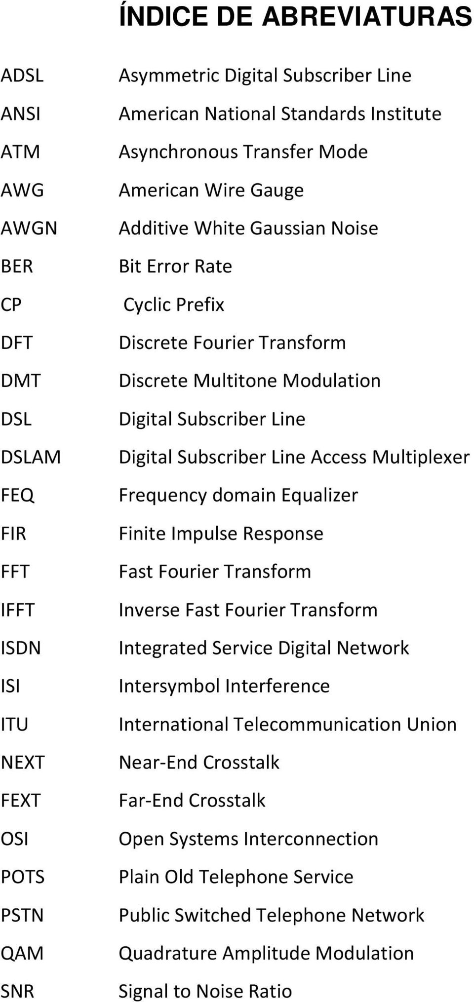 Digital Subscriber Line Access Multiplexer Frequency domain Equalizer Finite Impulse Response Fast Fourier Transform Inverse Fast Fourier Transform Integrated Service Digital Network Intersymbol